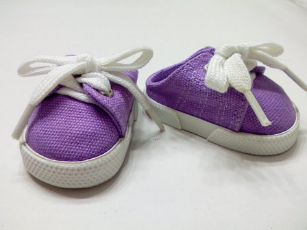 Lavender Backless Canvas Mules /
